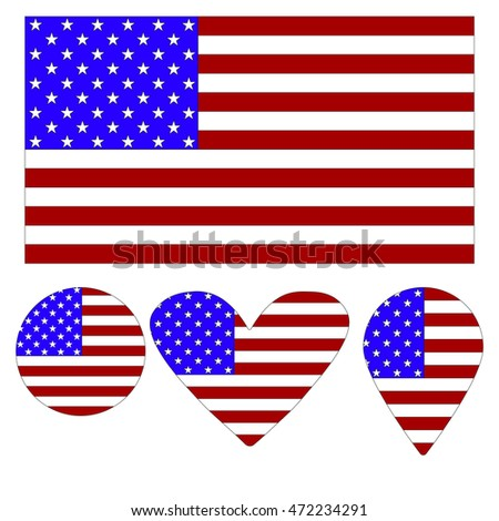 Flag Icon, Heart, Circle, a pointer, in the form of a flag of America. vector illustration