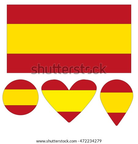 Flag Icon, Heart, Circle, a pointer, in the form of the flag of Spain. vector illustration