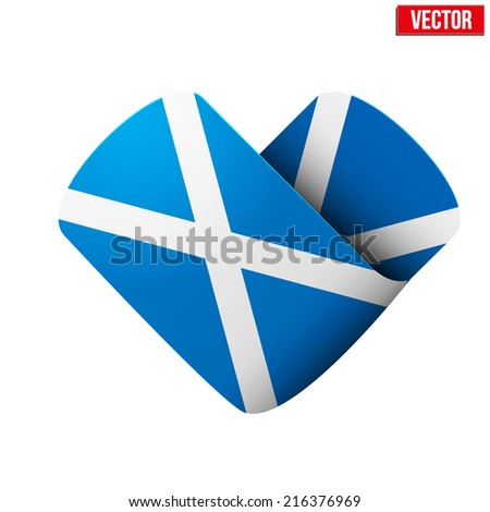 flag icon in the form of heart. I love Scotland. Vector Illustration Isolated on white background. - stock vector