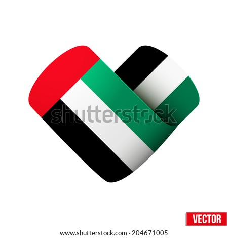 Flag icon in the form of heart. I love UAE. Vector Illustration. Isolated on white background. - stock vector