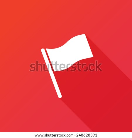 Flag icon. Location marker symbol. Flat design style. Long shadow