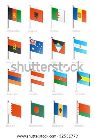 Flag icon set (part 1) Afghanistan, Albania, Algeria, Andorra, Angola, Australia, Antigua and Barbuda, Argentina, Armenia, Austria, Azerbaijan, Bahamas, Bahrain, Bangladesh, Barbados, Belarus - stock vector
