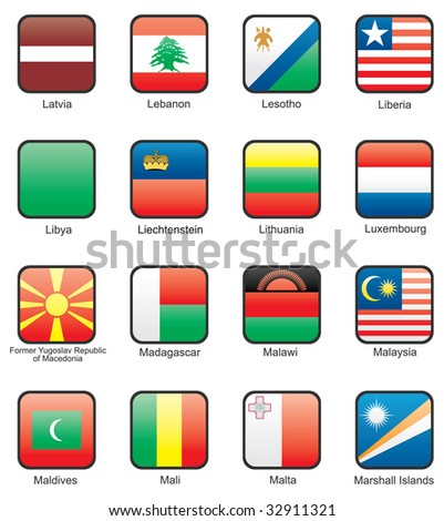 Flag icon set (part 7) Latvia, Lebanon, Lesotho, Liberia, Libya, Liechtenstein, Lithuania, Luxemburg, Macedonia, Madagascar, Malawi, Malaysia, Maldives, Mali, Malta, Marshall Islands