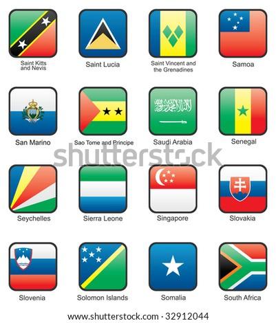 Flag icon set (part 10) Saint Lucia,  Samoa, San Marino, Sao Tome and Principe,  Saudi Arabia, Senegal, Seychelles, Sierra Leone,  Singapore, Slovakia, Qatar, Solomon islands, Somalia, South Africa - stock vector