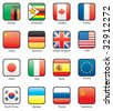 Flag icon set (part 13) Zambia, Zimbabwe, Canada, France, China, Germany, Great Britain, USA, Japan, Italy, Spain, EU, South Korea, Ukraine, Russia, USSR - stock vector