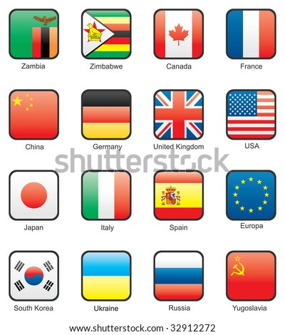 Flag icon set (part 13) Zambia, Zimbabwe, Canada, France, China, Germany, Great Britain, USA, Japan, Italy, Spain, EU, South Korea, Ukraine, Russia, USSR - stock vector