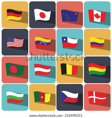 flag icon set vector illustration eps10  - stock vector