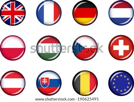 Flag Icons of Europe 1. Vector graphic images of glossy flag icons representing countries within Europe.  - stock vector