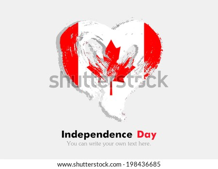 Flag in the shape of heart in grungy style. Independence Day. Heart drawn with a brush. Heart drawn by hand. Grungy heart. Flag of Canada - stock vector