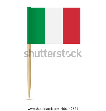 Flag Italy. Toothpick Italian flag . Isolated on white background 10eps