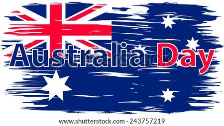 Flag made paint brush. Australian flag. Flag of Australia. Vector. Icon. - stock vector