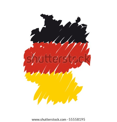 flag map Germany - stock vector