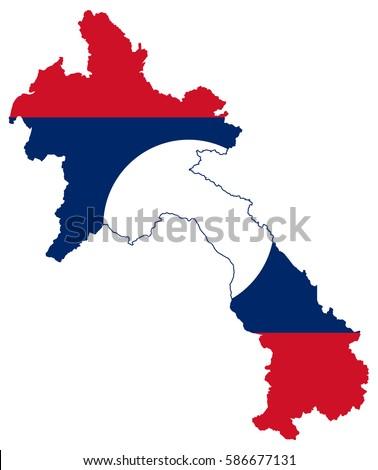 Flag Map Laos Stock Vector Shutterstock - Laos map vector