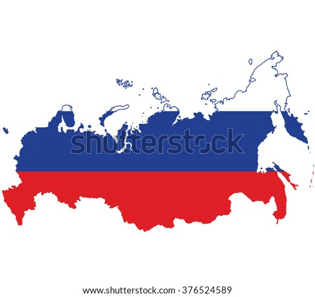 Flag map of Russia - stock vector