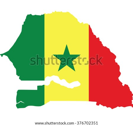 Flag map of Senegal