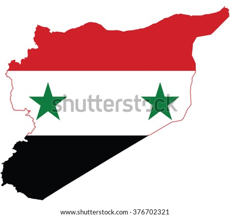 Flag map of Syria - stock vector