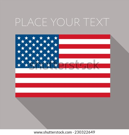 Flag of America - Stars and stripes - flat banner - National flag of the USA on flagpole, vector illustration. Grey background and place for your text. - stock vector