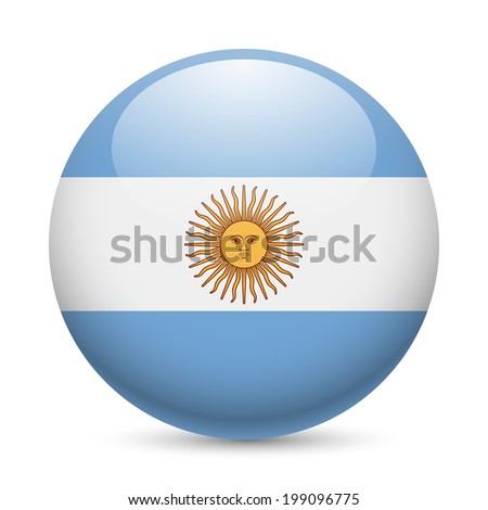 Flag of Argentina as round glossy icon. Button with Argentinian flag - stock vector