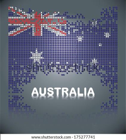 Flag of Australia from square blocks, vector - stock vector