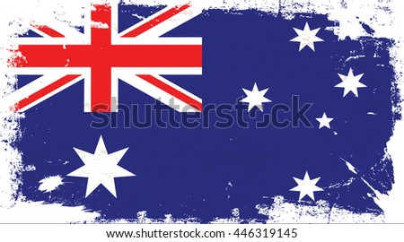 Flag of Australia in the ancient. - stock vector