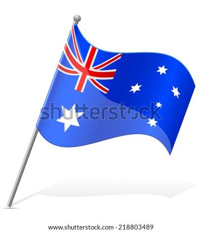 flag of Australia vector illustration isolated on white background - stock vector