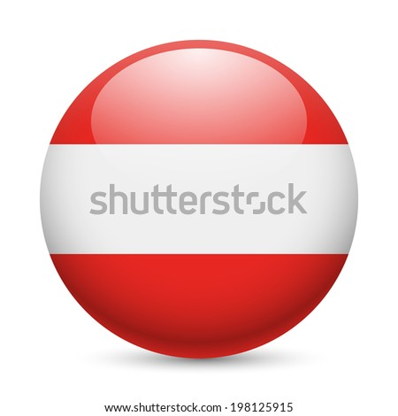 Flag of Austria as round glossy icon. Button with Austrian flag - stock vector