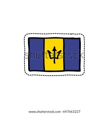 Flag of barbados doodle icon sticker