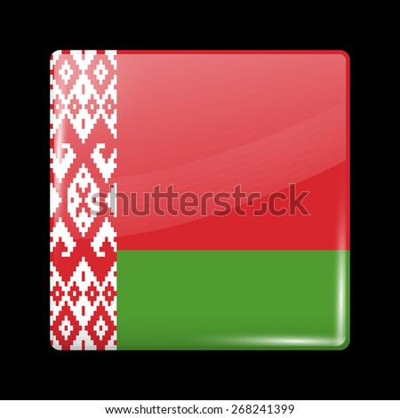 Flag of Belarus. Glossy Icons Square Shape. This is File from the Collection European Flags - stock vector