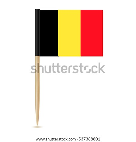 Flag of Belgium. Flag toothpick on white background 10eps