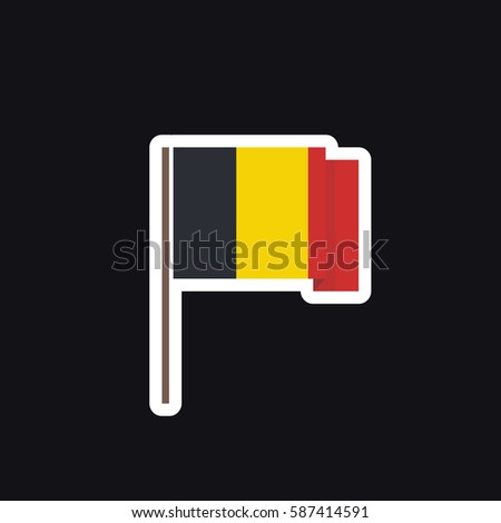 Flag of belgium icon sticker vector illustration