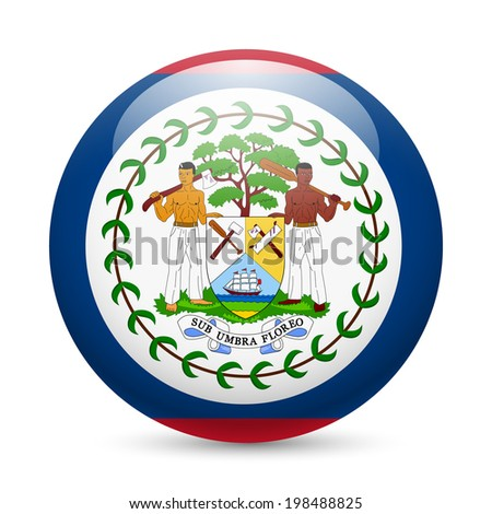 Flag of Belize as round glossy icon. Button with Belizean flag - stock vector