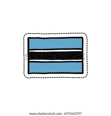 Flag of botswana doodle icon sticker