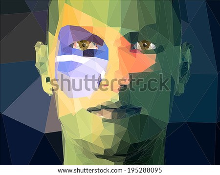Flag of Brazil Painted on a Face of a Young Man - stock vector