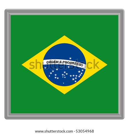 Flag of Brazil with silver frame - stock vector