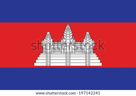 Flag of Cambodia. Vector. Accurate dimensions, element proportions and colors. - stock vector
