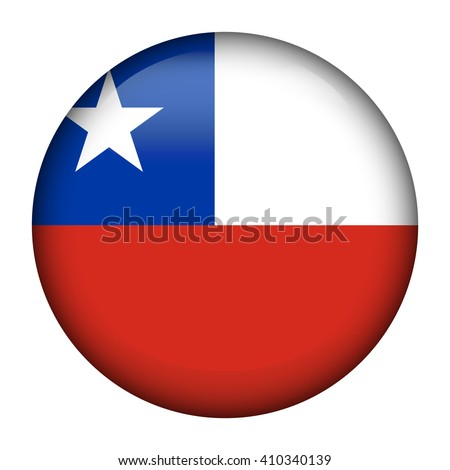 Flag of Chile Glossy Button - stock vector