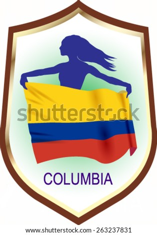 Flag of Columbia with blazon - vector illustration. - stock vector