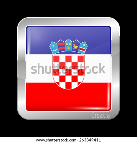 Flag of Croatia. Metal Icons Square Shape. This is File from the Collection European Flags - stock vector