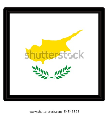 Flag of Cyprus with black frame - stock vector