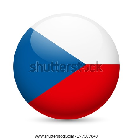 Flag of Czech Republic as round glossy icon. Button with Czech flag - stock vector