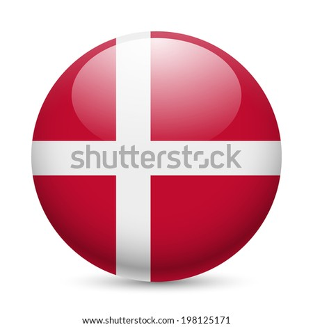 Flag of Denmark as round glossy icon. Button with Danish flag - stock vector