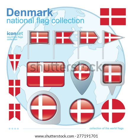 Flag of Denmark, icon collection, vector illustration - stock vector
