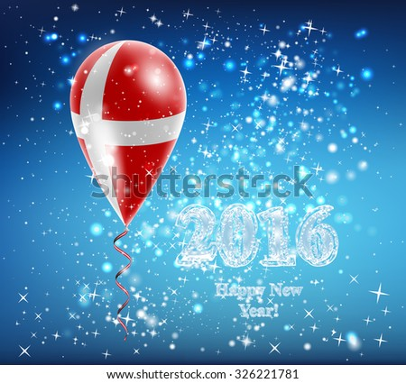Flag of Denmark in a balloon. The celebration and gifts. Balloon on Happy New Year. Merry Christmas. The sky sparkles with stars and snowflakes. Image. Vector. Icon. - stock vector