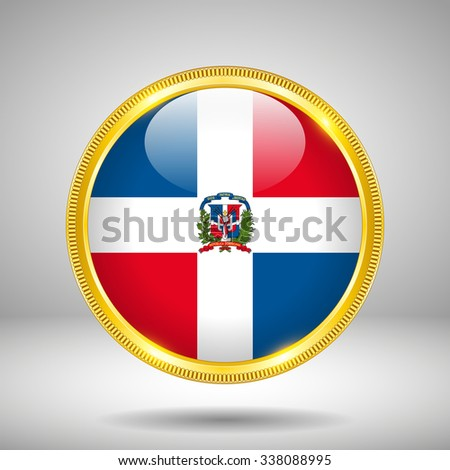 Flag of Dominican Republic in GOLD, vector illustration - stock vector