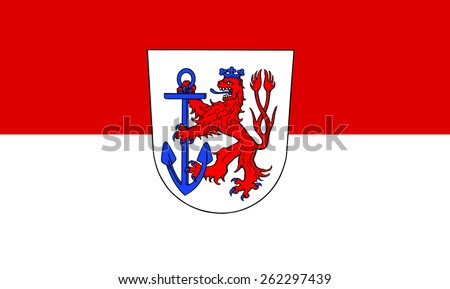 Flag of Dusseldorf, North Rhine-Westphalia state, Germany. Original and simple flag isolated vector in official colors and Proportion,, vector illustration isolated on white background. - stock vector