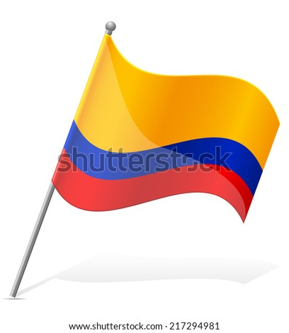 flag of Ecuador vector illustration isolated on white background - stock vector