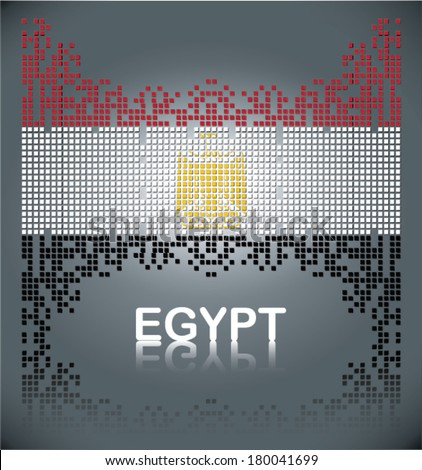 Flag of Egypt from square blocks, vector - stock vector