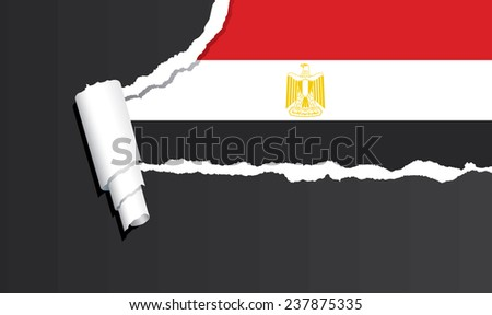 Flag of Egypt under ripped paper vector illustration. - stock vector