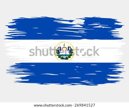 Flag El Salvador Painted Brush Colored Stock Vector 269841527