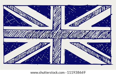 Flag of England. Doodle style - stock vector